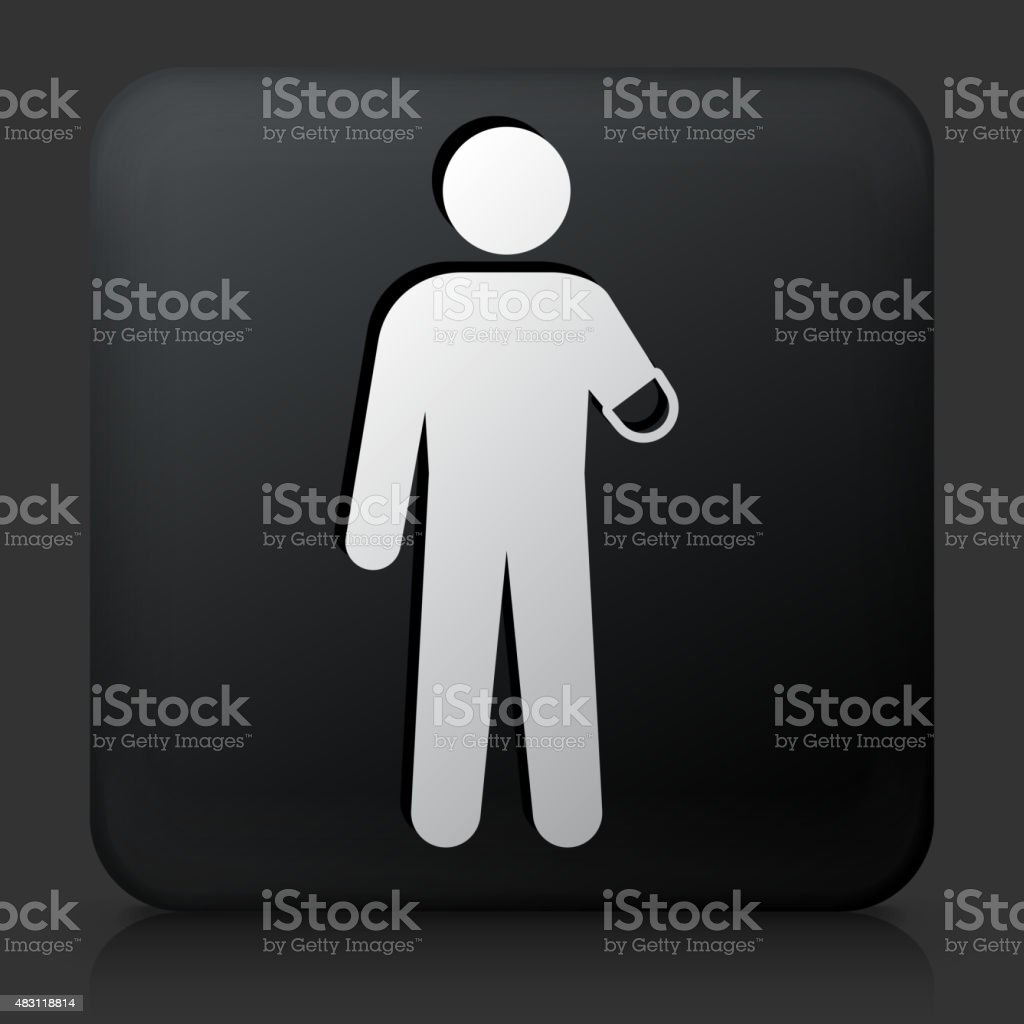 Black Square Button with Arm Amputee vector art illustration