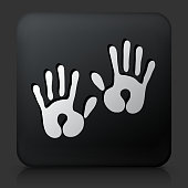 Black Square Button with Baby Handprints Icon