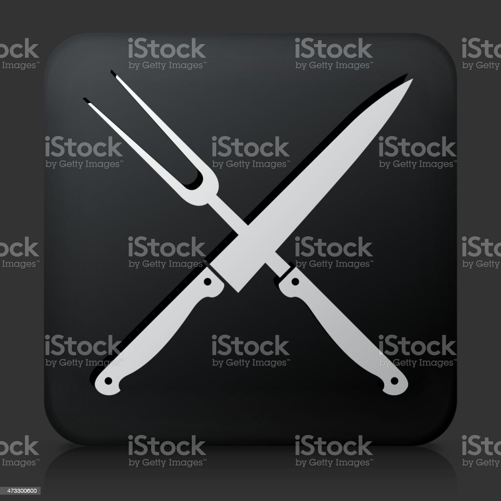 Black Square Button with Barbecue Knife & Fork vector art illustration