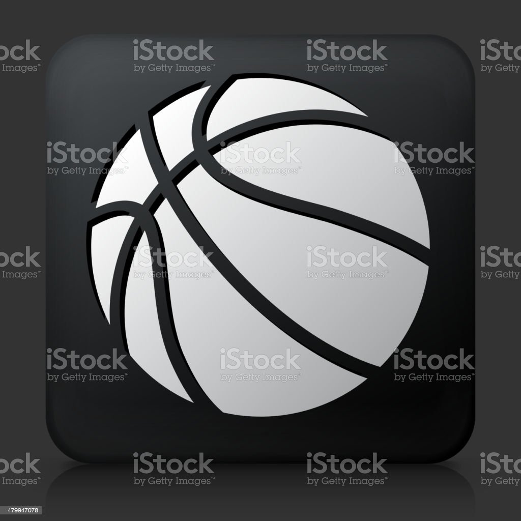 Black Square Button with Basketball Icon. This royalty free vector...