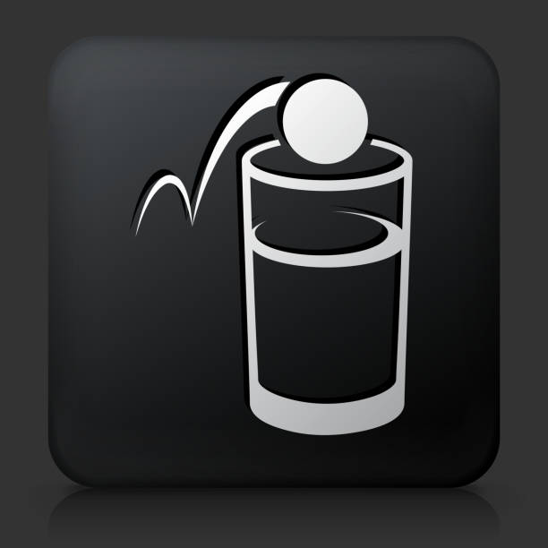 stockillustraties, clipart, cartoons en iconen met black square button with beer pong icon - beirut