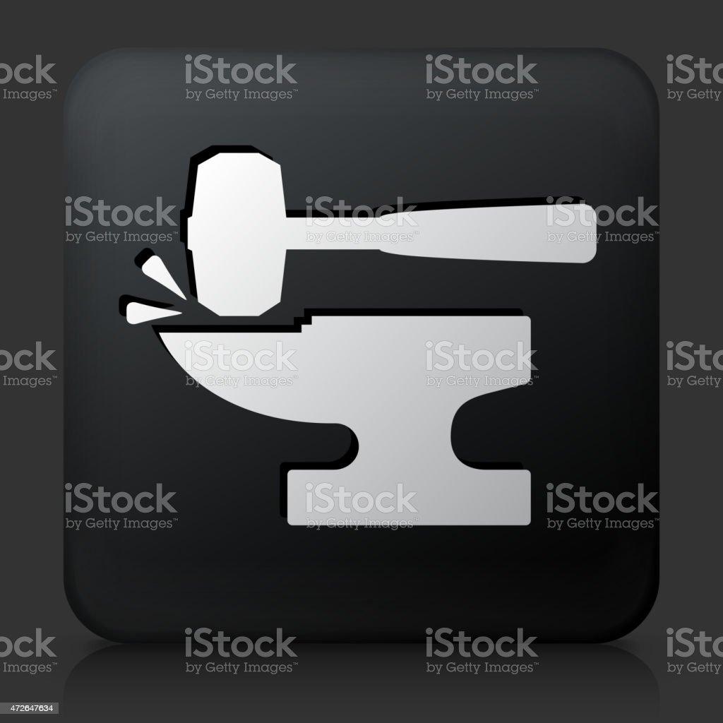 Black Square Button with Blacksmith Anvil & Lump Hammer Icon vector art illustration
