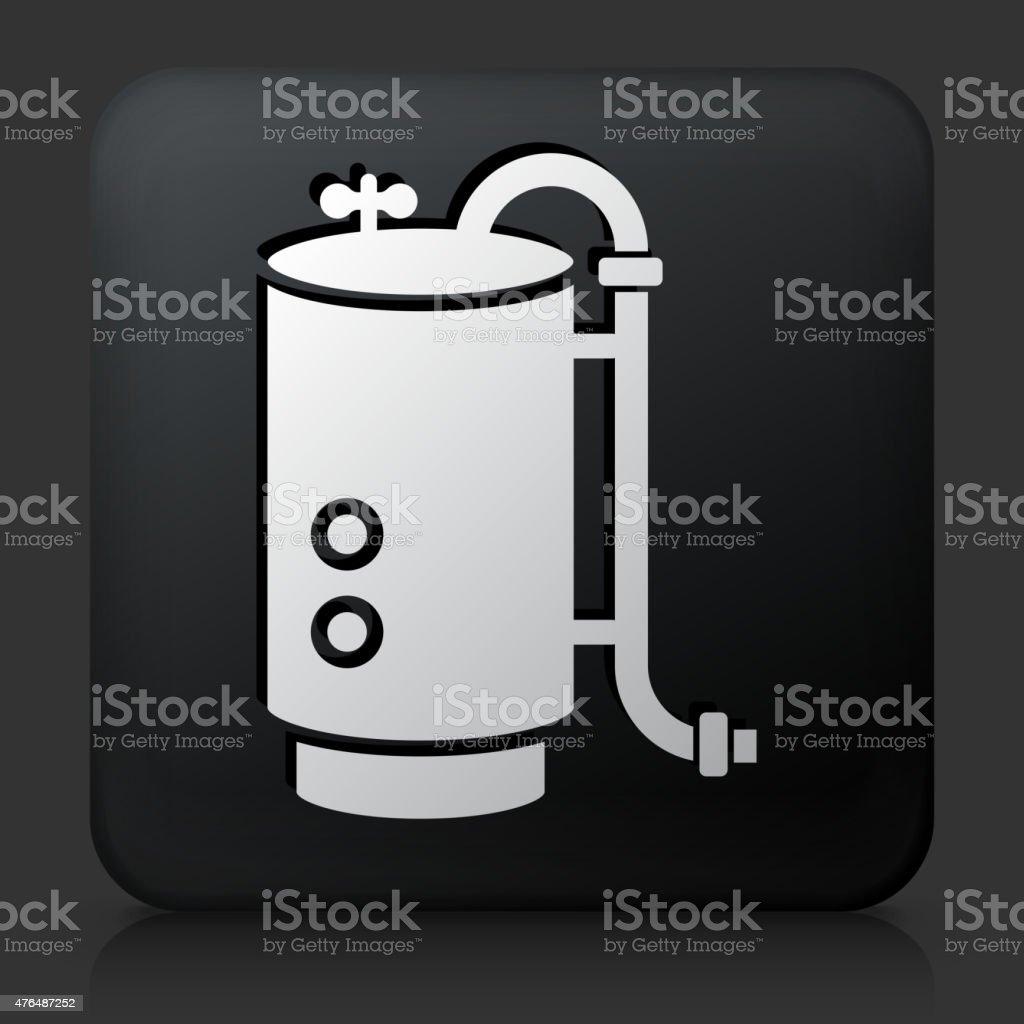 Black Square Button with Boiler Icon vector art illustration