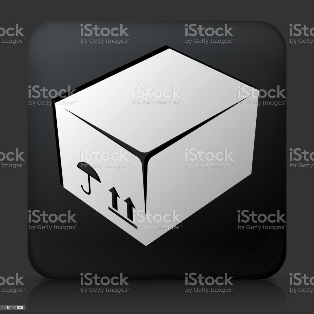 Black Square Button with Box Icon. This royalty free vector image...