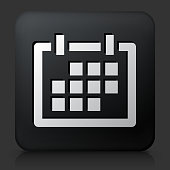 Black Square Button with Calendar Icon