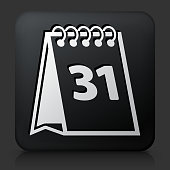 Black Square Button with Calendar
