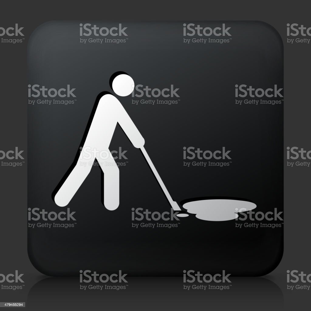 Black Square Button with Cleaning Oil Spill Icon vector art illustration
