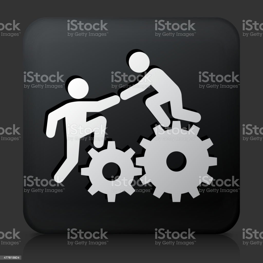 Black Square Button with Climbing Gear Icon vector art illustration