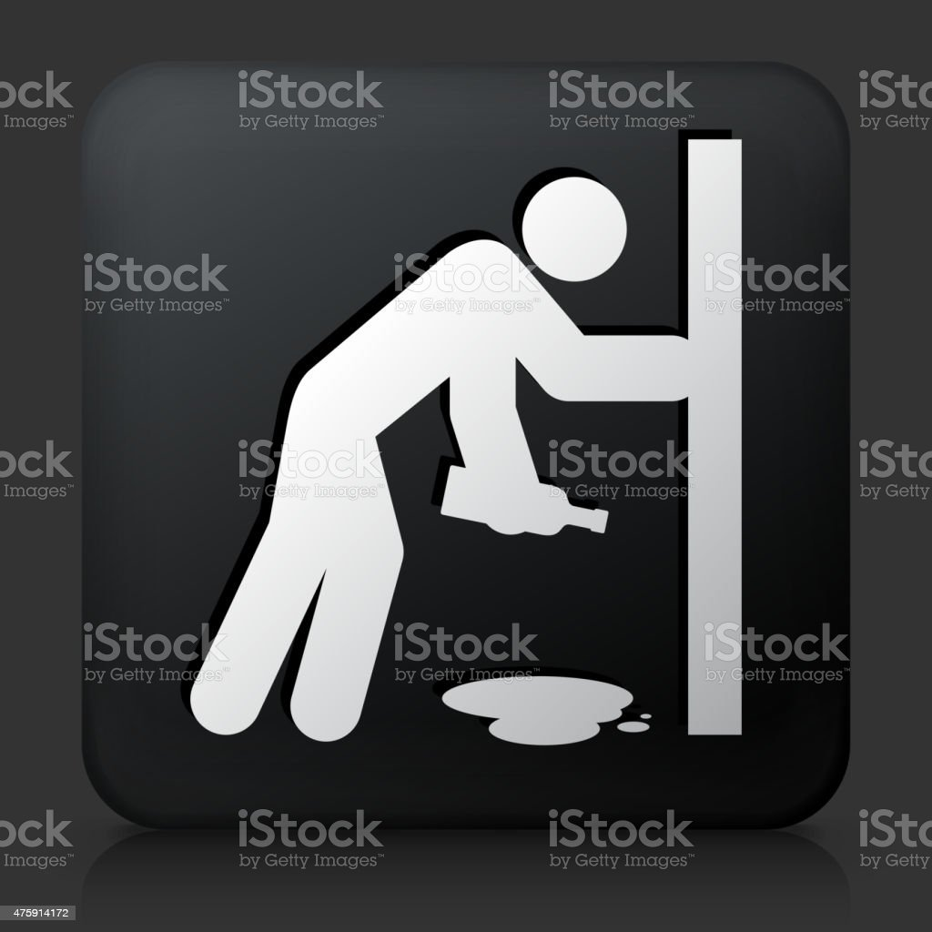 Black Square Button with Drunk Person Holding a Bottle vector art illustration