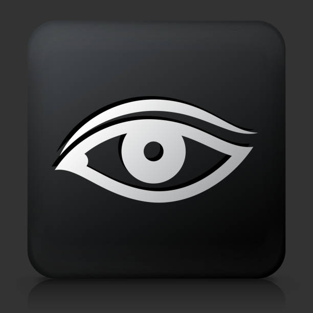 Black Square Button with Eye vector art illustration