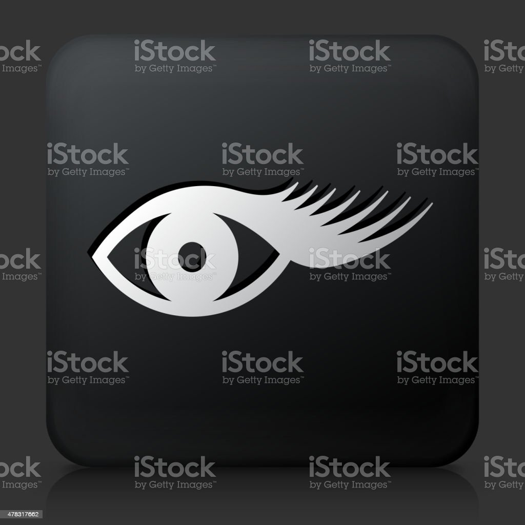Black Square Button with Eyelashes Icon vector art illustration