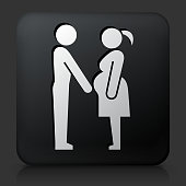 Black Square Button with Family and Pregnancy. This royalty free vector image features a white interface icon on square black button. The vector button has a bevel effect and a light shadow. The image background is dark grey and the button has a light reflection.