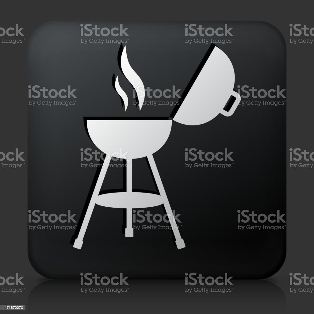Black Square Button with Grill Open vector art illustration