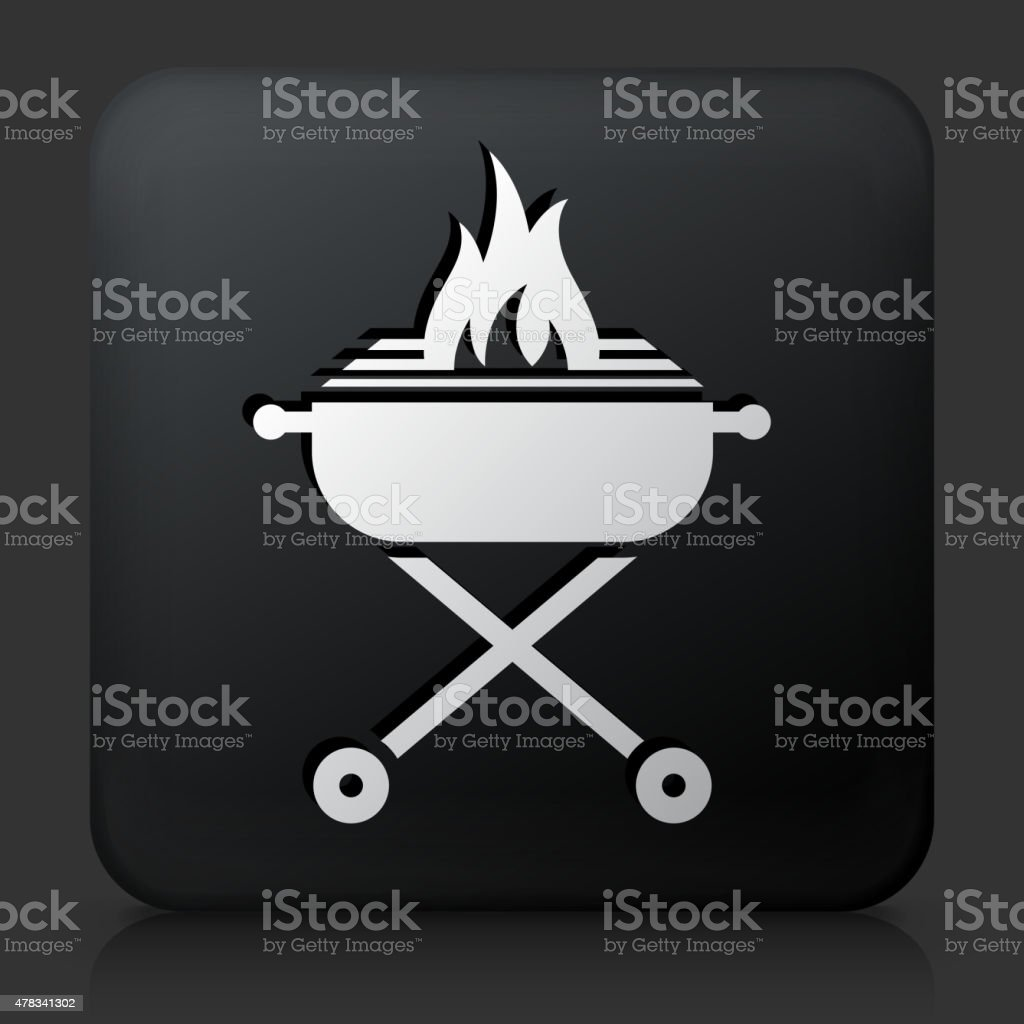 Black Square Button with Grill vector art illustration