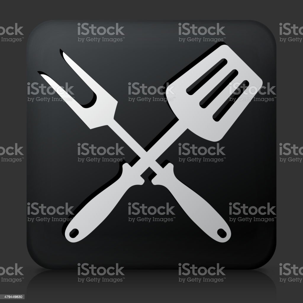 Black Square Button with Grilling Utensils Icon vector art illustration