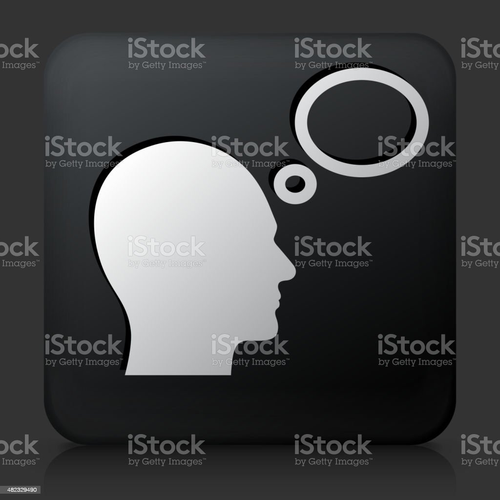 Black Square Button with Head and Thoughts  Icon vector art illustration