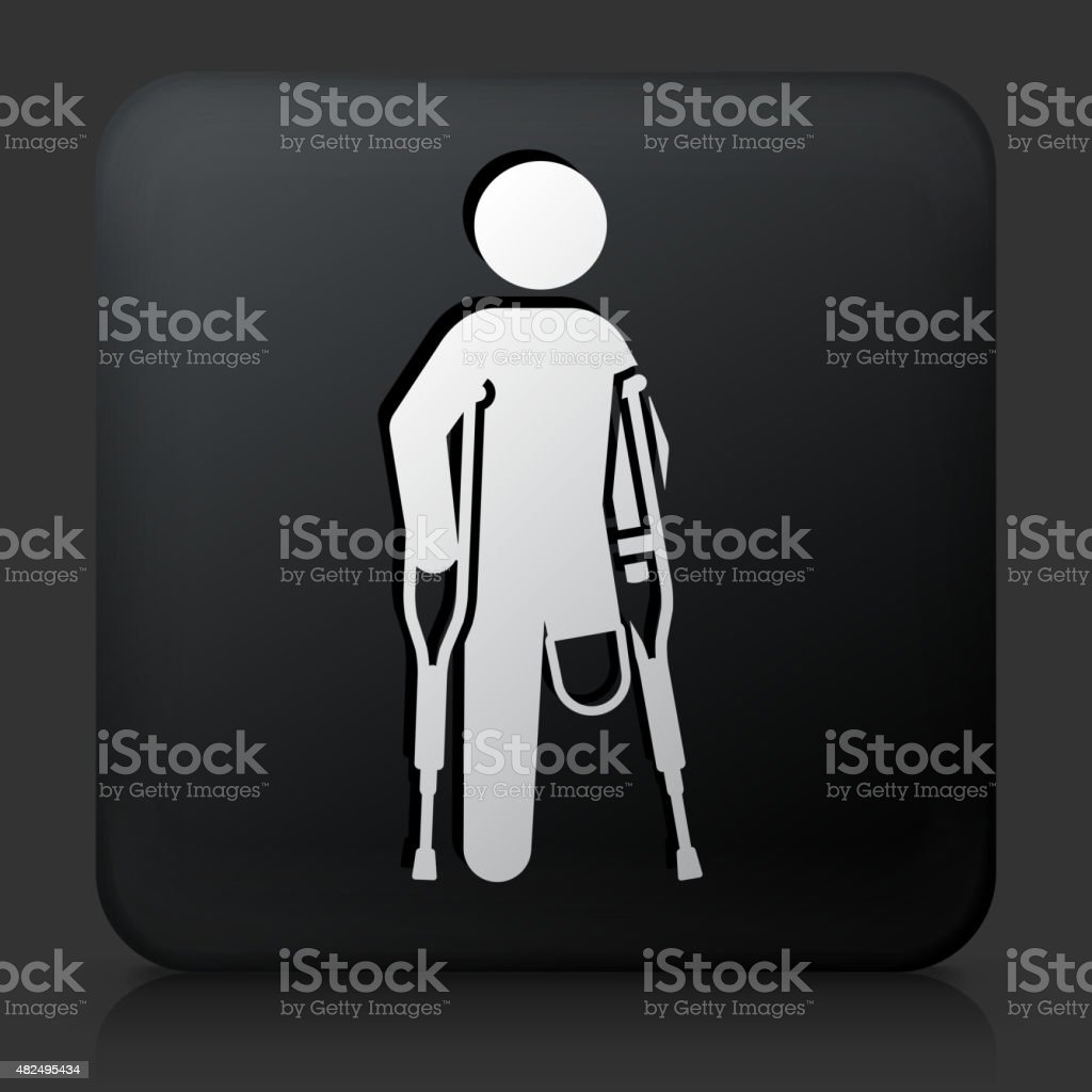 Black Square Button with Leg Amputee vector art illustration