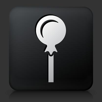 Black Square Button with Lollipop Icon