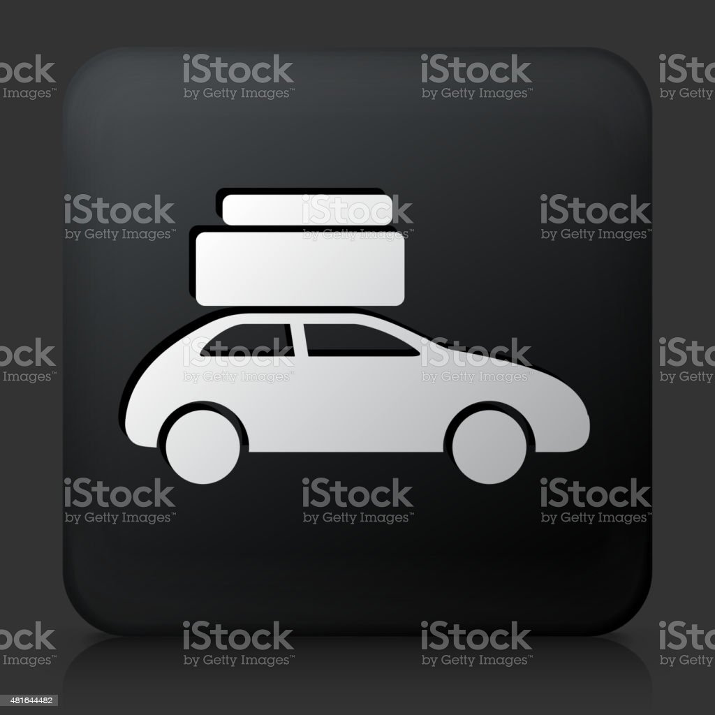 Black Square Button With Moving Car Icon Stock Vector Art