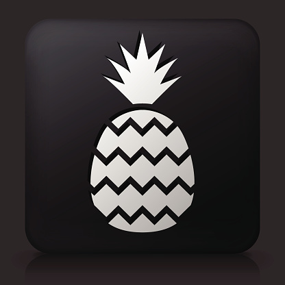 Black Square Button with Pineapple Icon