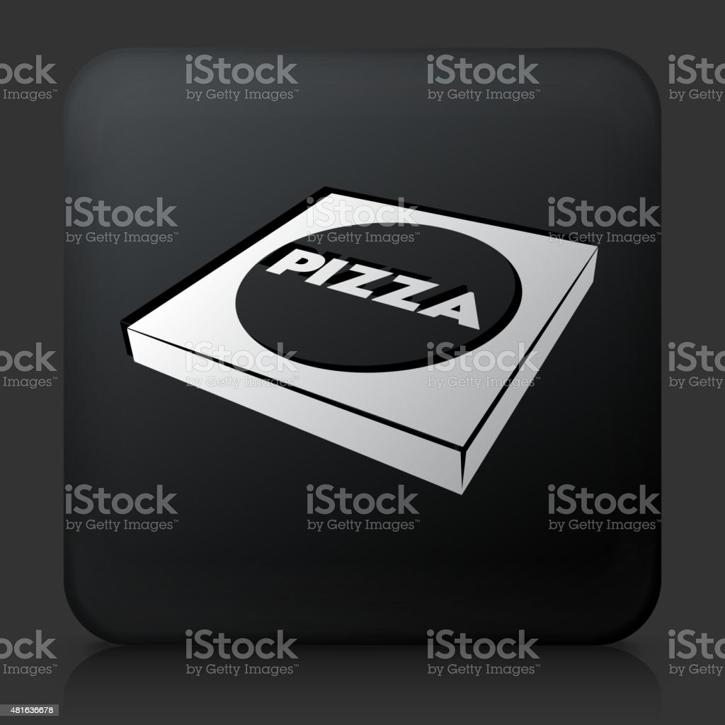 Black Square Button with Pizza Box. This royalty free vector image...