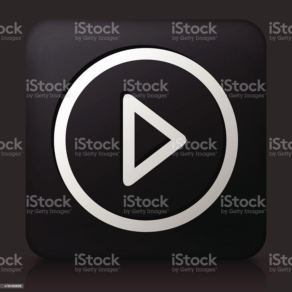 Black Square bouton avec l'icône du jeu - Illustration vectorielle