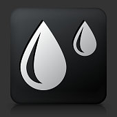 Black Square Button with Raindrops. This royalty free vector image features a white interface icon on square black button. The vector button has a bevel effect and a light shadow. The image background is dark grey and the button has a light reflection.