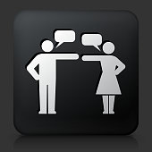 Black Square Button with Relationship Problems Icon