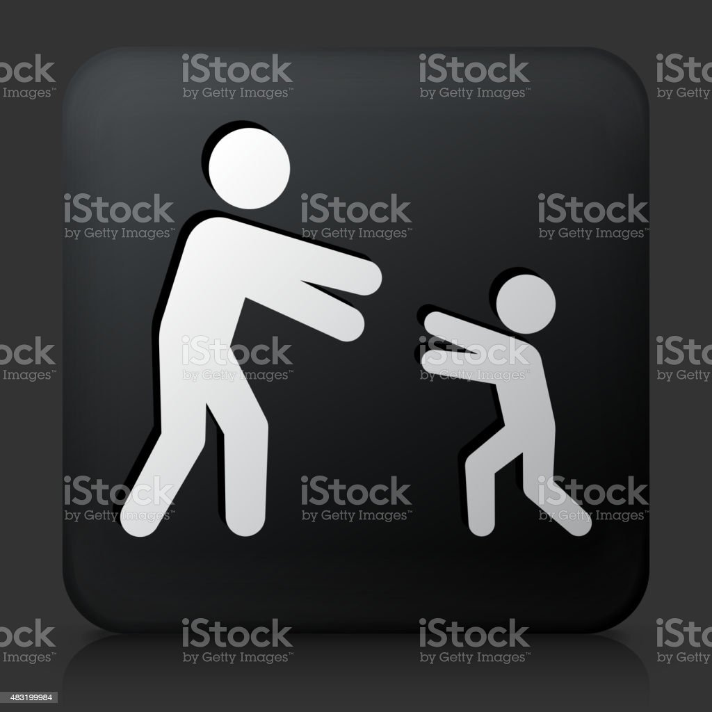 Black Square Button with Reunited Family Icon vector art illustration
