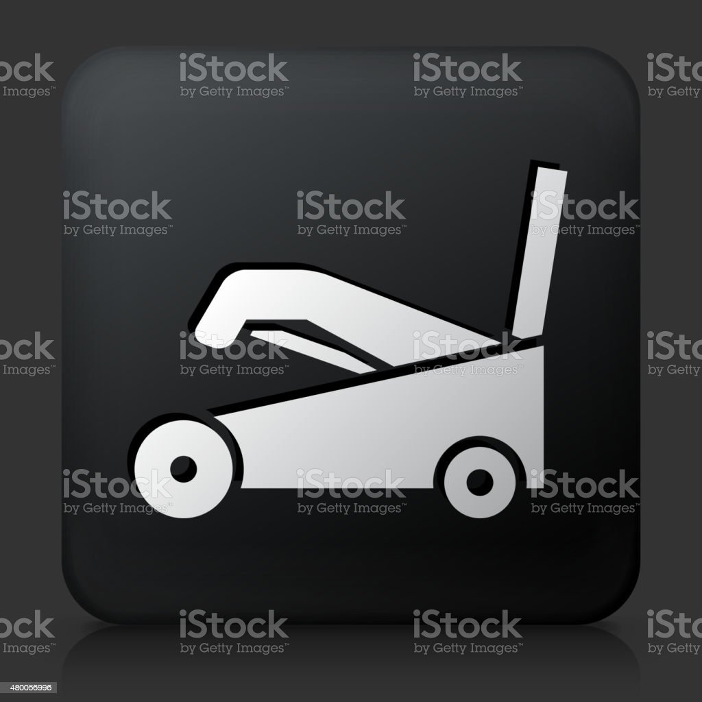 Black Square Button with Snow Blower vector art illustration