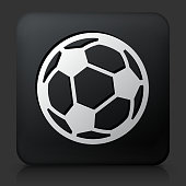 Black Square Button with Soccer Ball Icon