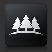 Black Square Button with Three Trees. This royalty free vector image features a white interface icon on square black button. The vector button has a bevel effect and a light shadow. The image background is dark grey and the button has a light reflection.