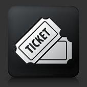 Black Square Button with Ticket Icon
