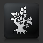 Black Square Button with Tree Icon. This royalty free vector image features a white interface icon on square black button. The vector button has a bevel effect and a light shadow. The image background is dark grey and the button has a light reflection.