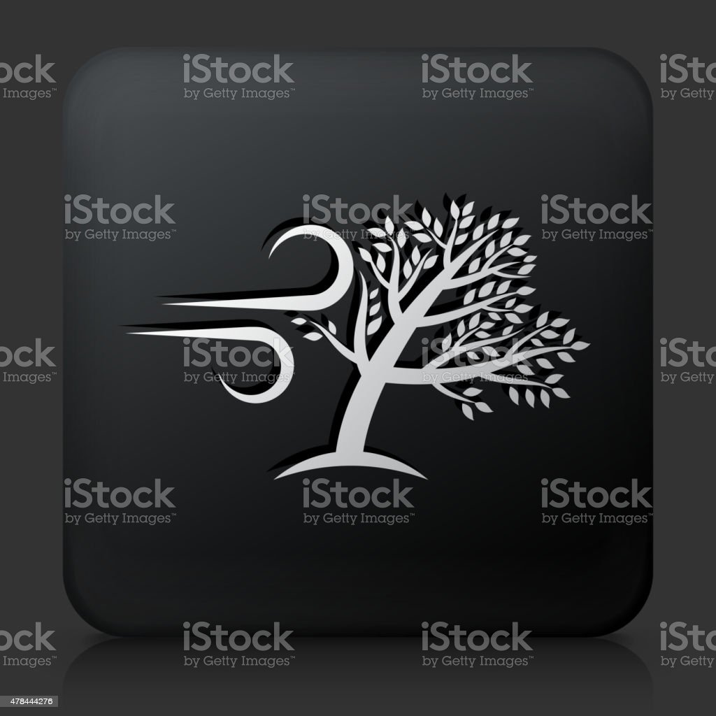 Black Square Button with Tree Wind Icon. This royalty free vector...