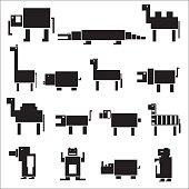 black square digital simple retro animals eps10