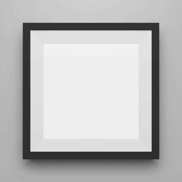bildbanksillustrationer, clip art samt tecknat material och ikoner med svart fyrkantig bild ram mall med skugga - painting wall