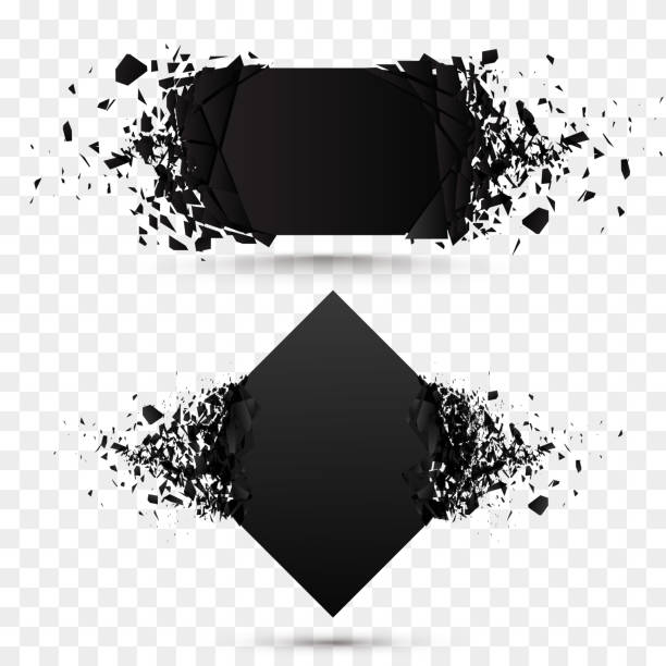 ilustrações de stock, clip art, desenhos animados e ícones de black square stone with debris isolated. abstract black explosion. background - arruinado
