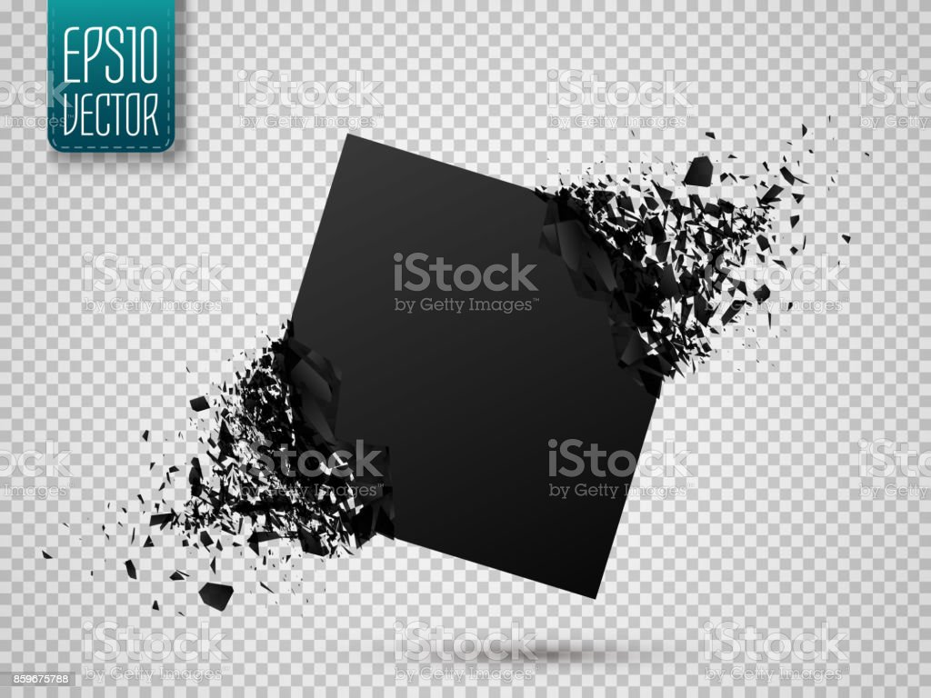 Black square with debris isolated. Abstract black explosion. Vector illustration vector art illustration