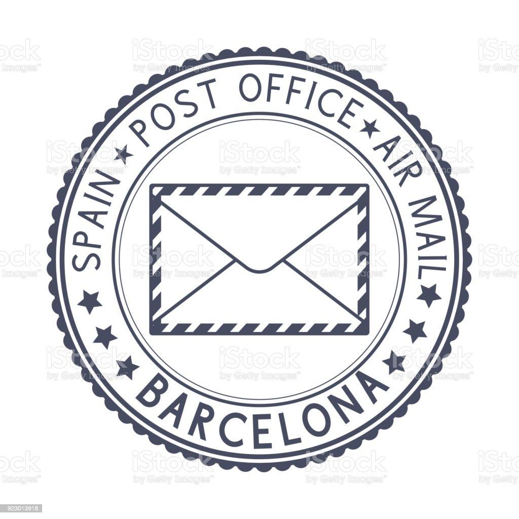 バルセロナスペイン封筒のシンボルと黒のスタンプ アイコンのベクター