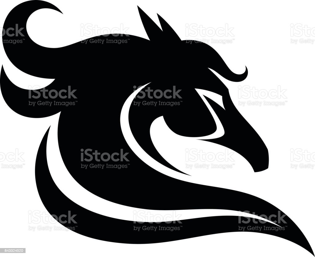 Black steed head vector art illustration