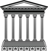 Black Stencil of Greek temple on white