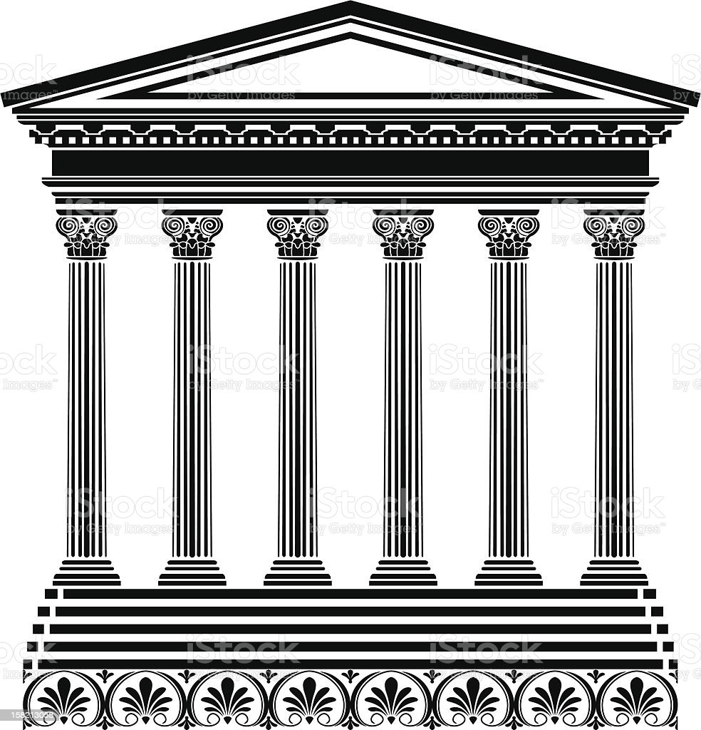 Black Stencil of Greek temple on white vector art illustration