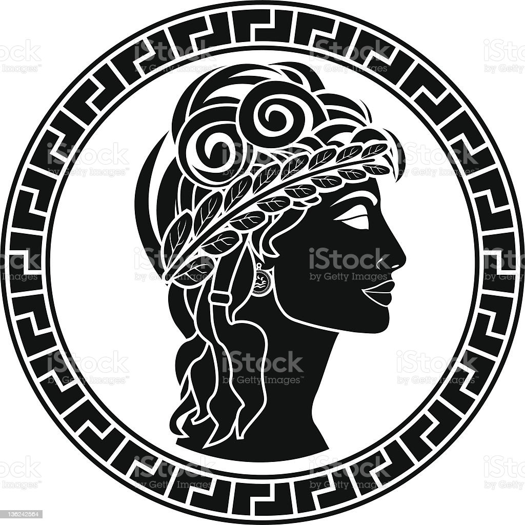 Black stencil of Patrician woman facing right vector art illustration