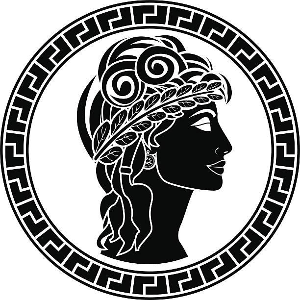 Black stencil of Patrician woman facing right vector art illustration