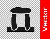 Black Stonehenge icon isolated on transparent background. Vector.