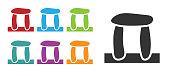 Black Stonehenge icon isolated on white background. Set icons colorful. Vector.