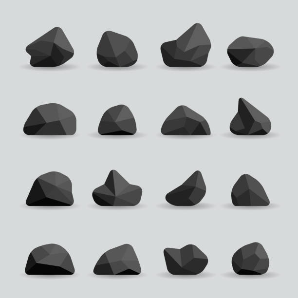 black stones in flat style vector - gemstone stock illustrations, clip art, cartoons, & icons