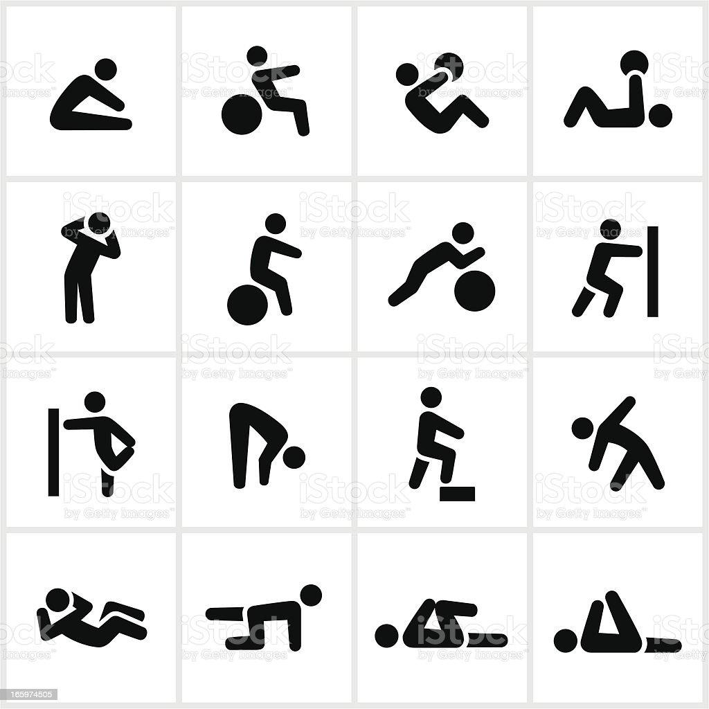 Black Stretching Icons vector art illustration