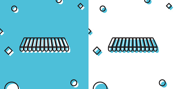 Black Striped awning icon isolated on blue and white background. Outdoor sunshade sign. Awning canopy for shops, cafes and street restaurants. Random dynamic shapes. Vector Illustration